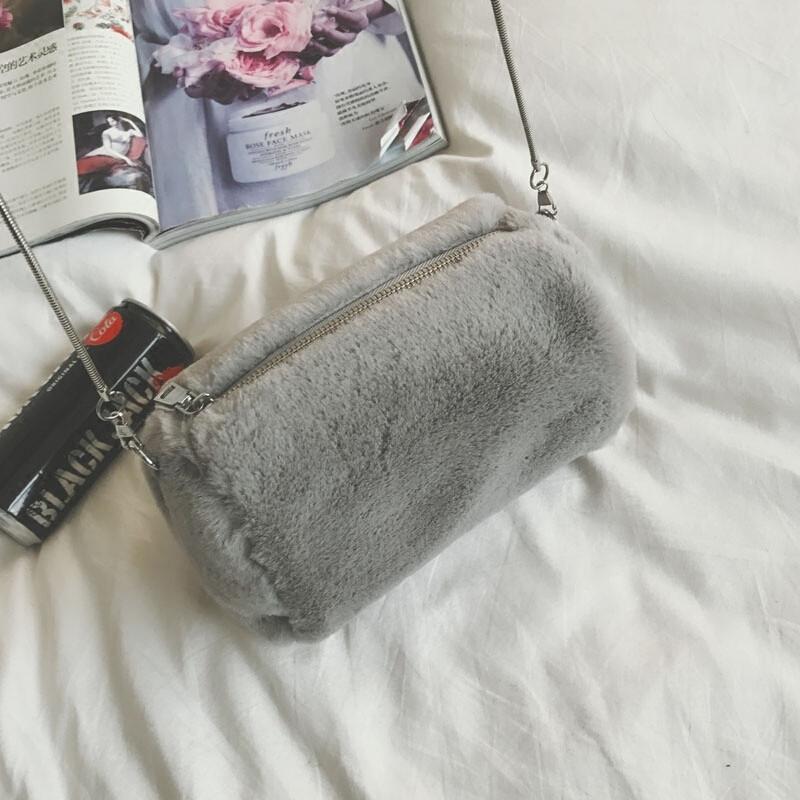 ctrlcity毛毛包包新款韩版迷你可爱单肩包时尚链条斜挎包冬季毛绒小包