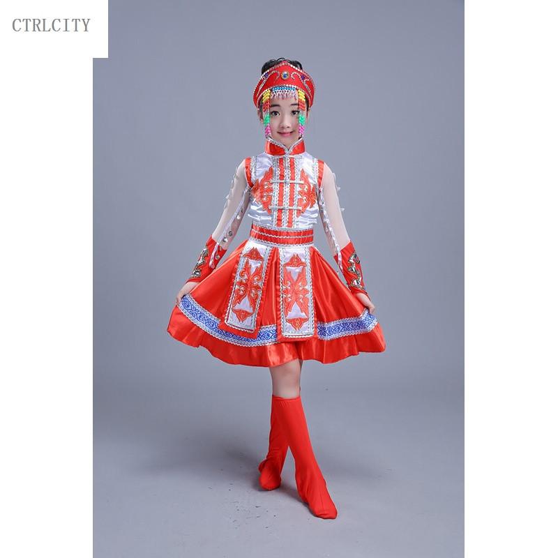 ctrlcity儿童演出服女童少数民族蒙族舞蹈服装少儿童蒙古族舞蹈表演服