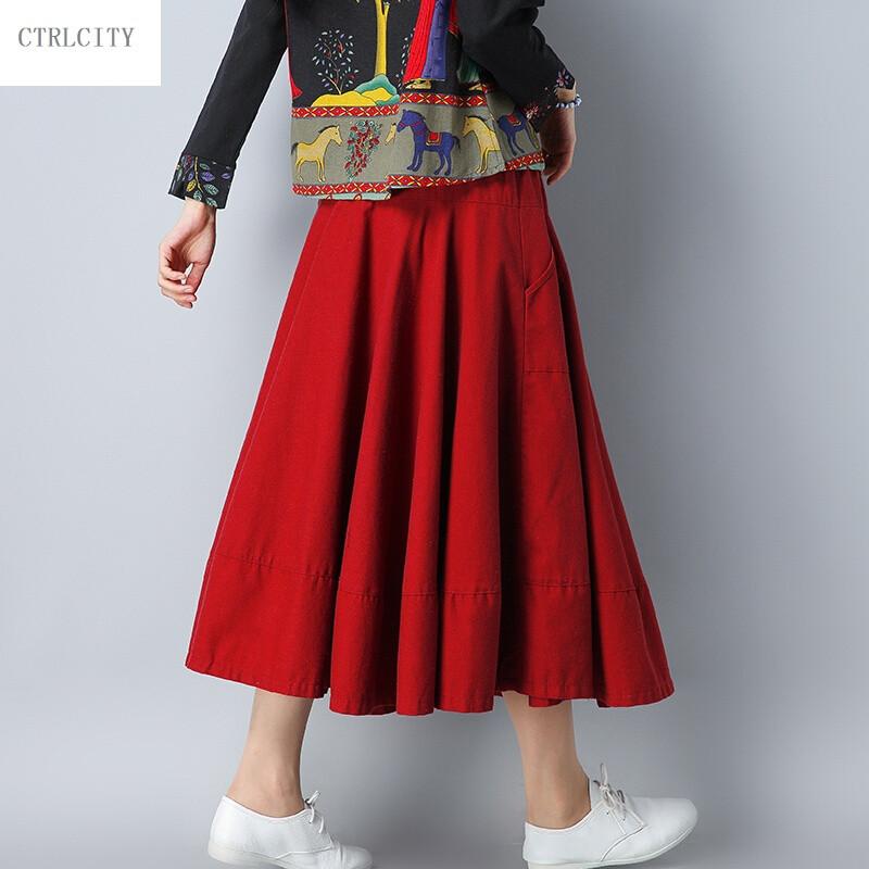 ctrlcity文艺森系女装秋冬新款棉麻裙子纯色百搭松紧腰显瘦a字半身裙图片