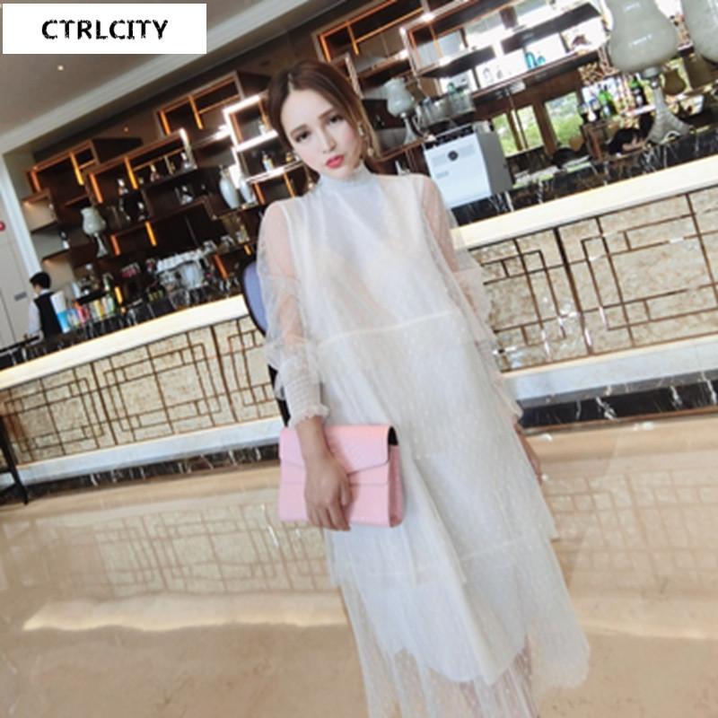 性感韩版新款甜美淑女百搭减龄可爱公主范长袖层层网纱晚礼服连衣裙35
