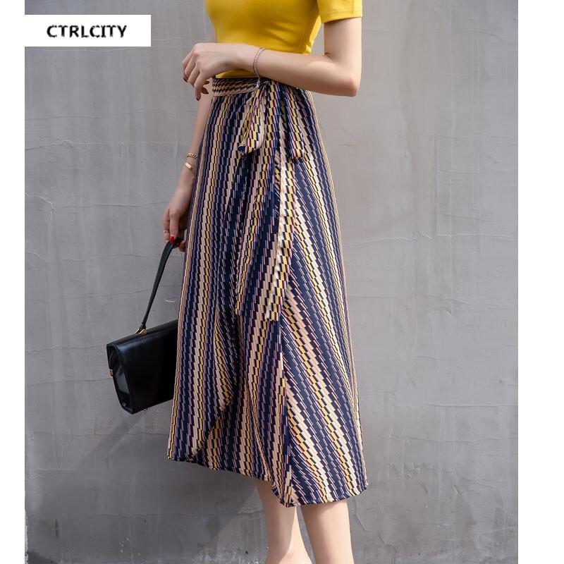 ctrlcity韩版一片式系带条纹雪纺半身裙修身露肩短袖套装
