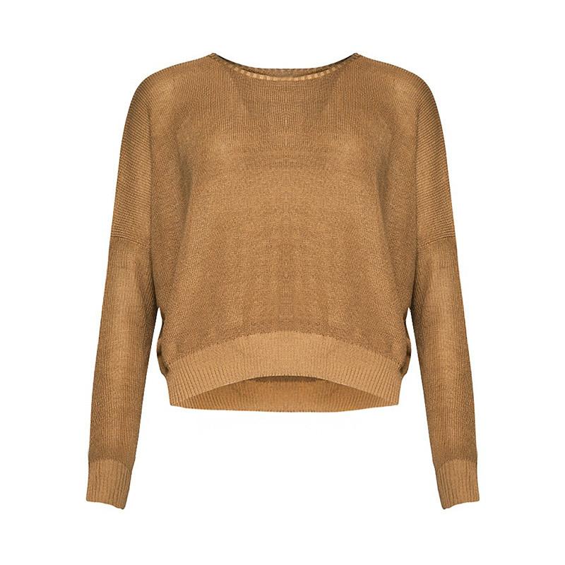 haoduoyi秋季新款女装 欧美风宽松蝙蝠袖针织衫 休闲套头毛衣