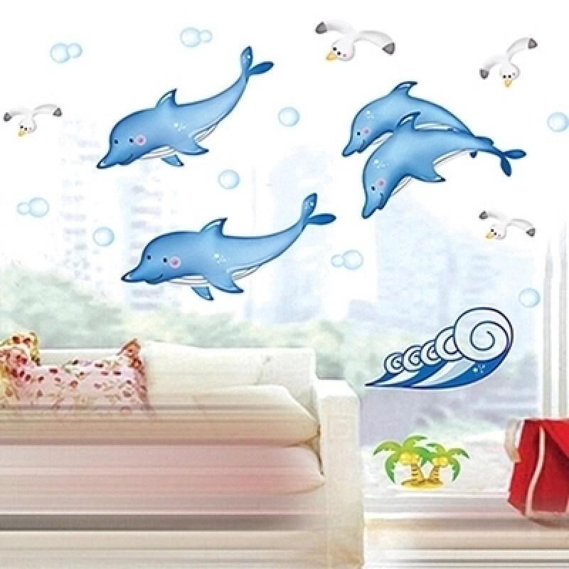 宜佳蕙可移除 海豚墙贴儿童房墙贴纸 浴室幼儿园海洋游泳馆装饰贴画