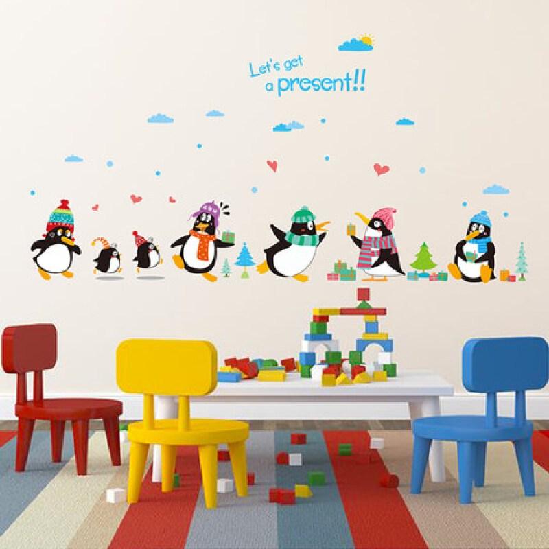 佳蕙卡通可爱小企鹅动物墙贴纸卧室儿童房间创意装饰幼儿园墙壁粘贴画