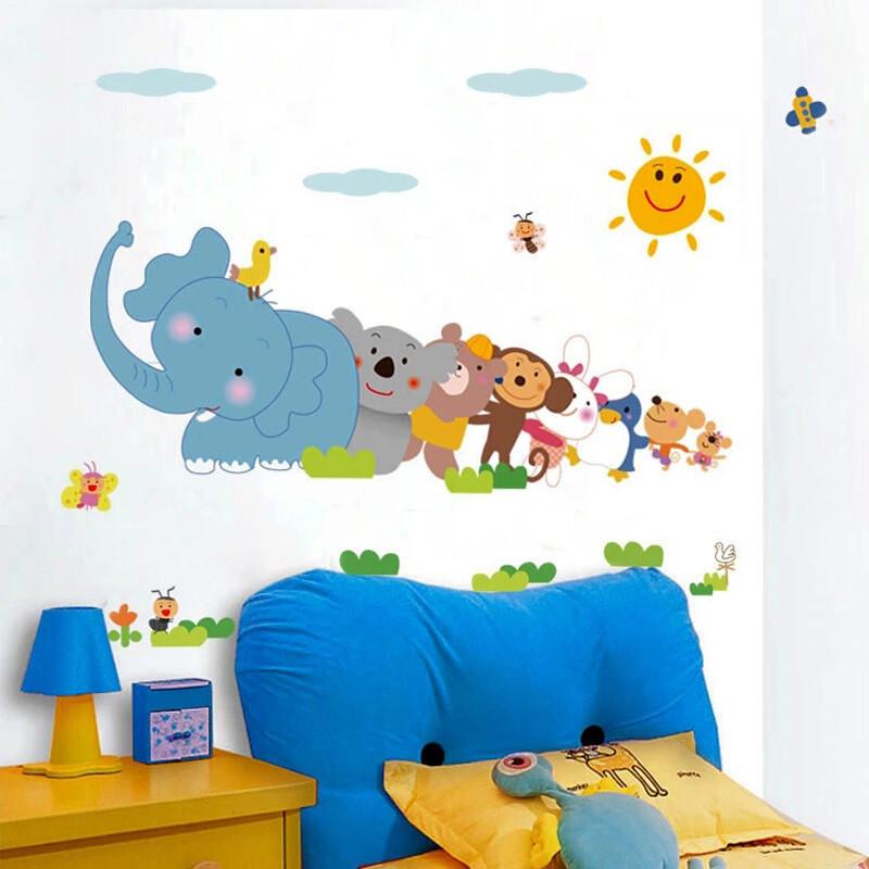 宜佳蕙儿童房墙贴卧室房间装饰贴画 男孩女孩婴儿可爱卡通动物墙画