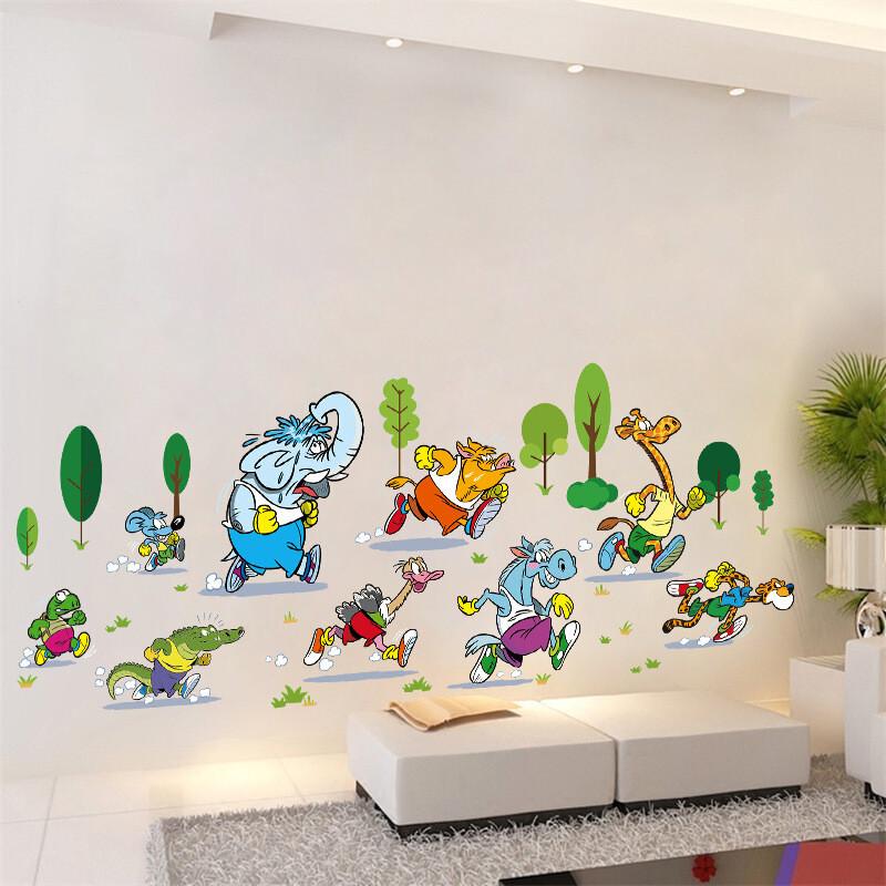 儿童房墙上装饰卡通动漫墙贴贴纸自粘墙纸贴画动物 xh动物马拉松 大