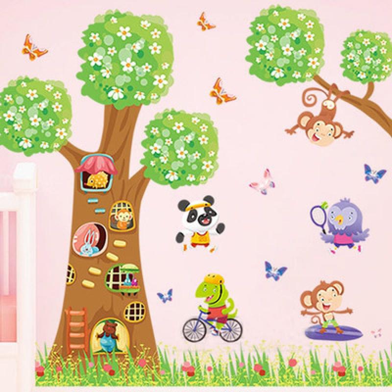 卡通动物大树宝宝墙贴画儿童房间温馨卧室幼儿园教室墙壁装饰贴画