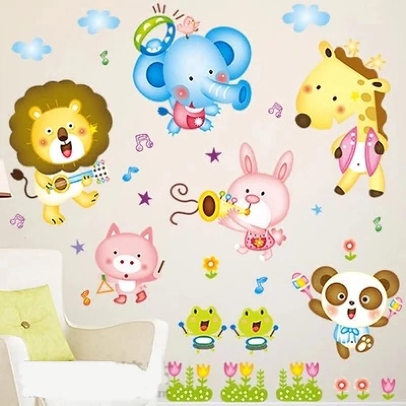 宜佳蕙 儿童房幼儿园客厅卧室床头森林音乐会动物乐队可移除卡通墙