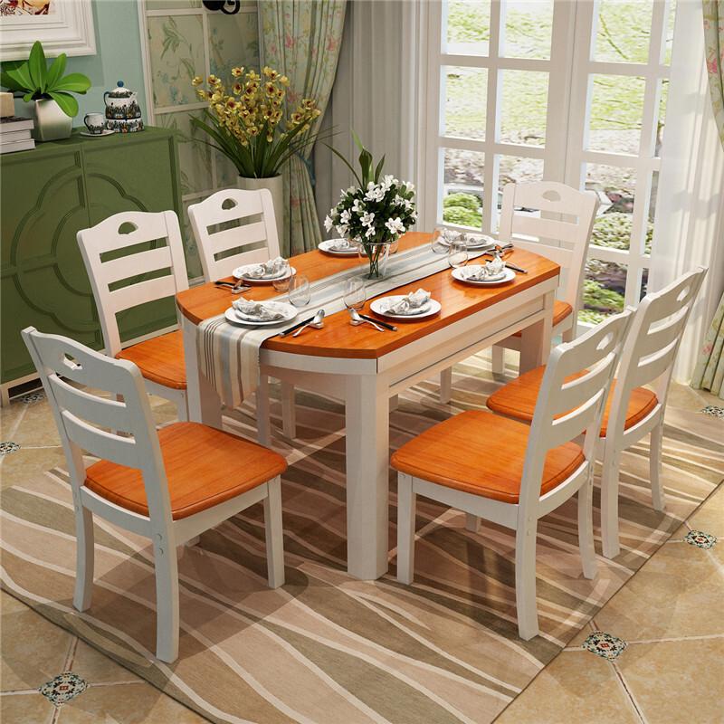 明希 实木伸缩餐桌椅组合 现代简约折叠4人6人餐桌餐椅套装 方形圆形