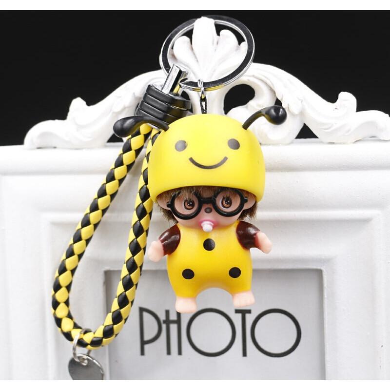 韩国卡通创意奇奇钥匙扣汽车钥匙链圈情侣包包挂件蓝色猪头蒙奇奇钥匙