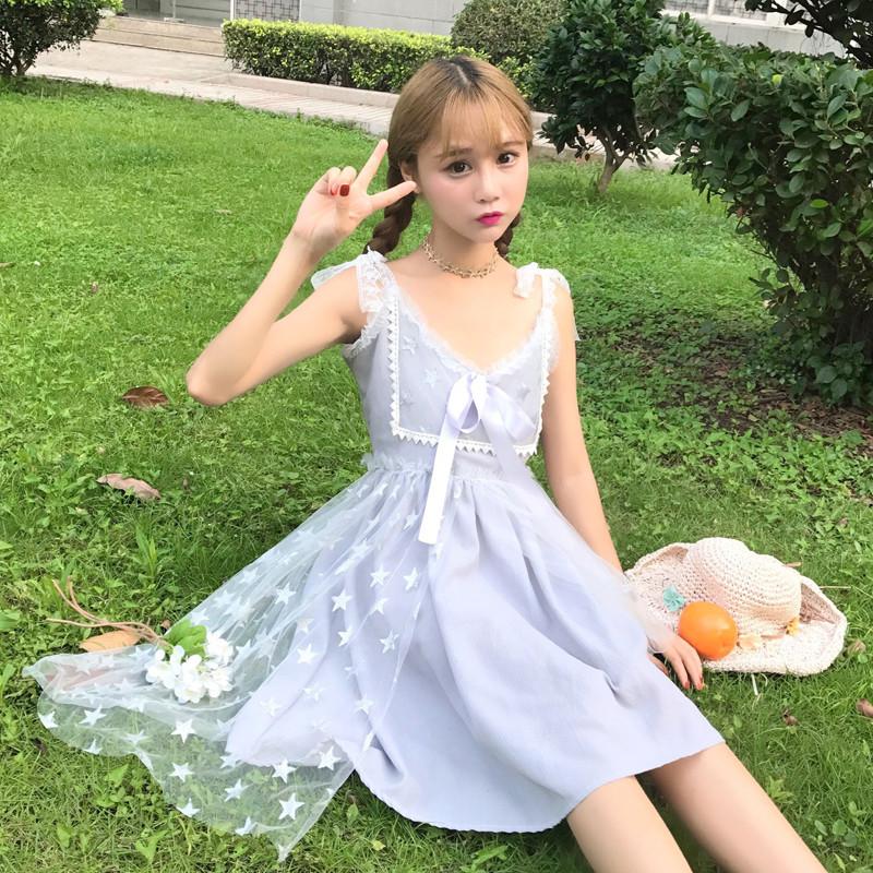 828新款日系软妹学院风可爱小清新仙女裙甜美星星网纱