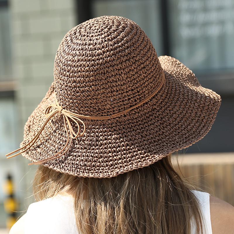 828新款草帽沙滩帽子女夏天草编太阳帽防晒帽镂空遮阳