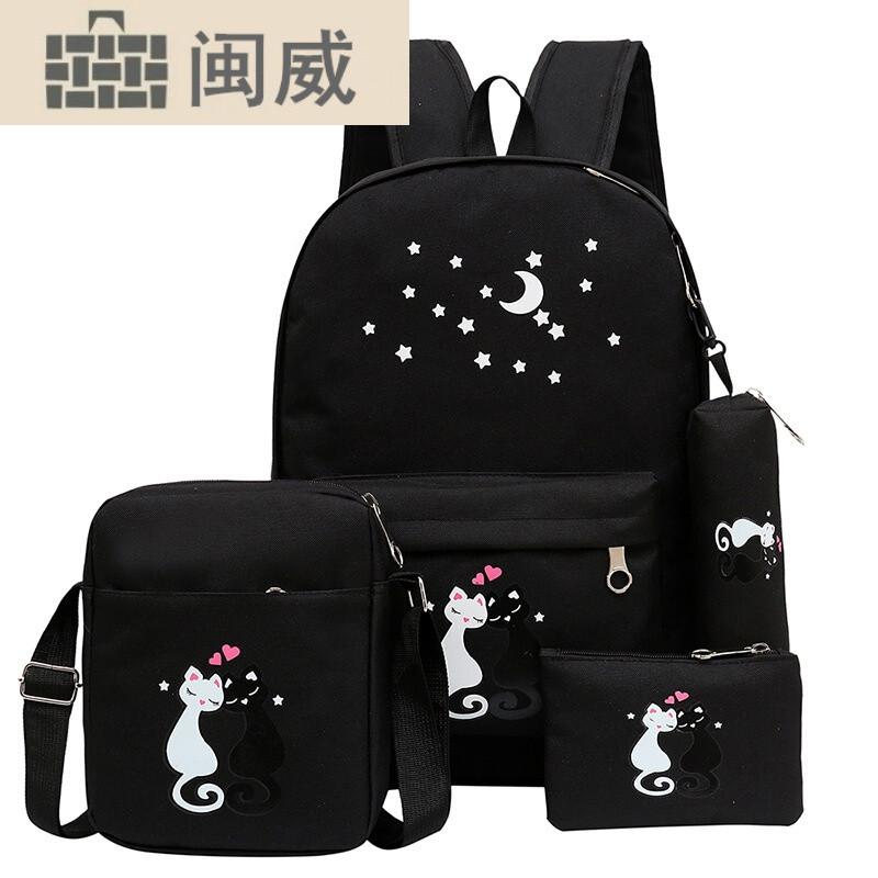 新款书包帆布女学生双肩包可爱猫咪学生书包4件套轻便