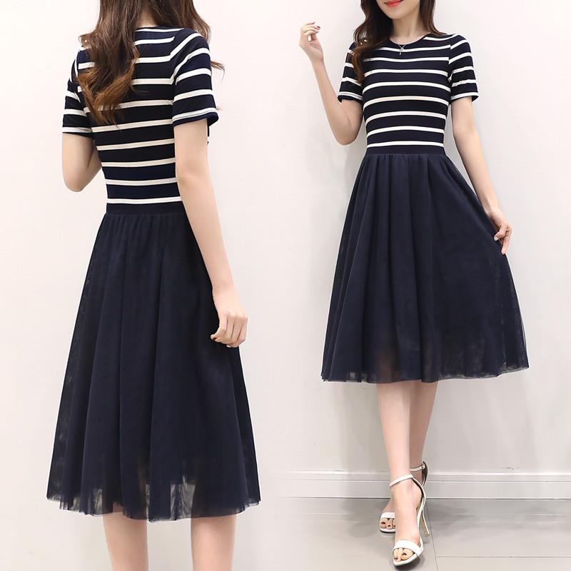 2017新款2017夏装新款韩版时尚圆领针织网纱修身显瘦短袖条纹连衣裙