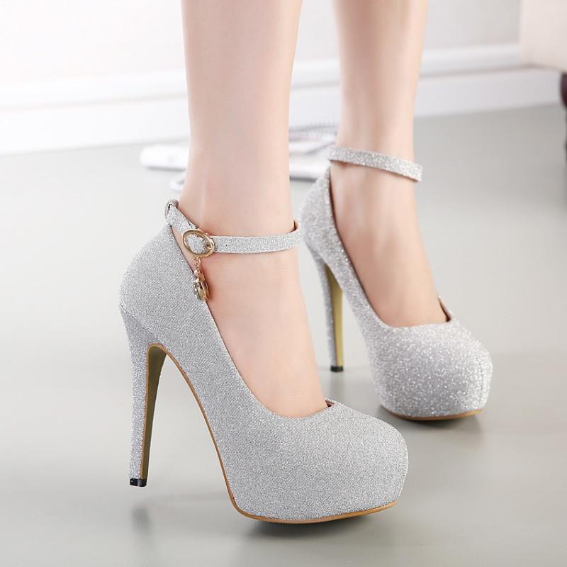 2017新款圆头单鞋女性感细跟浅口超高跟鞋防水台韩国公主时尚扣带女鞋
