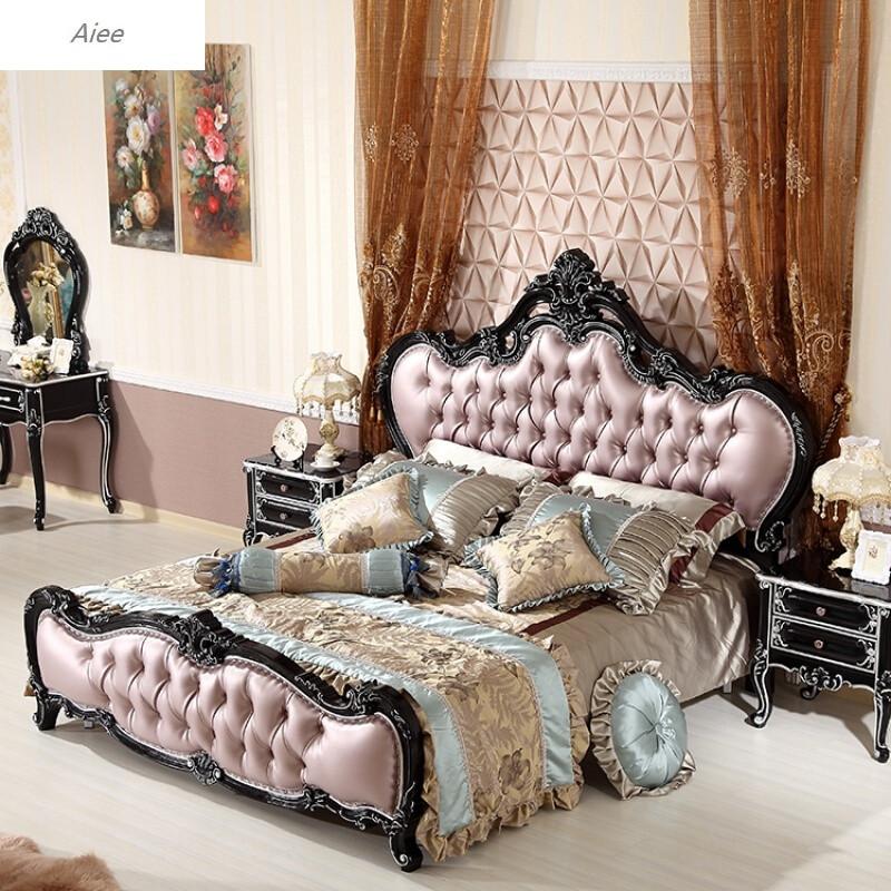 8美式真皮主卧婚床家具图片