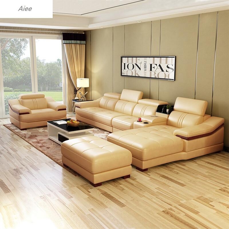 aiee真皮沙发头层牛皮小户型客厅皮艺沙发组合现代客厅转角沙发双 单