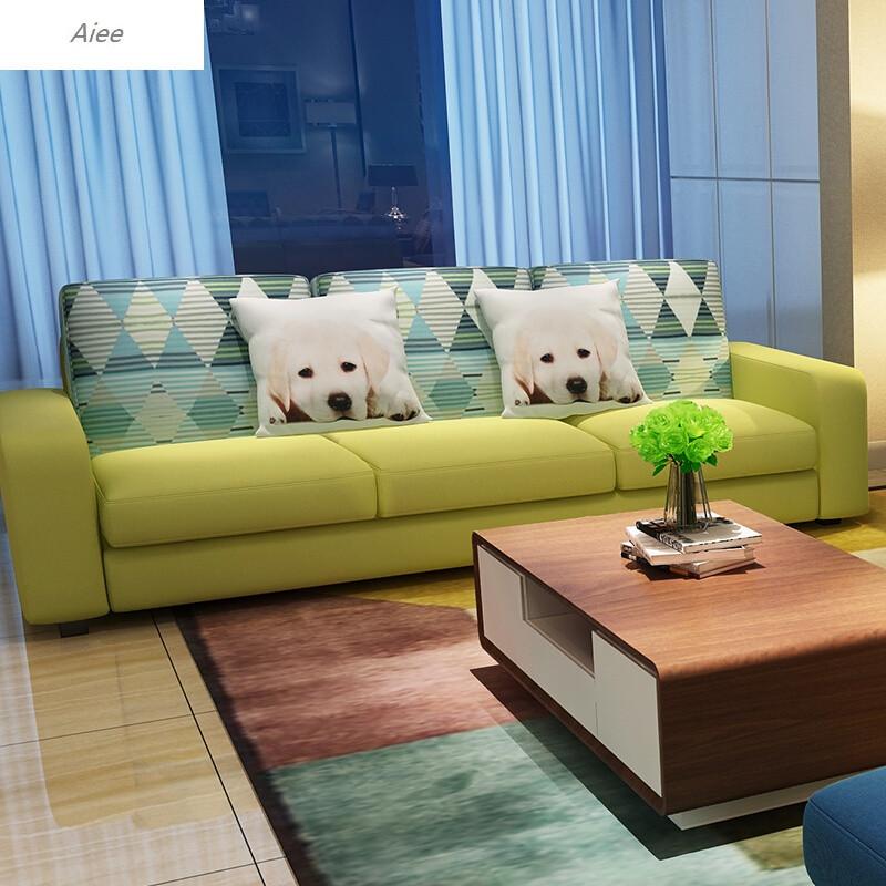 aiee布艺沙发组合现代简约小户型沙发客厅三人沙发日式转角可拆洗沙发图片