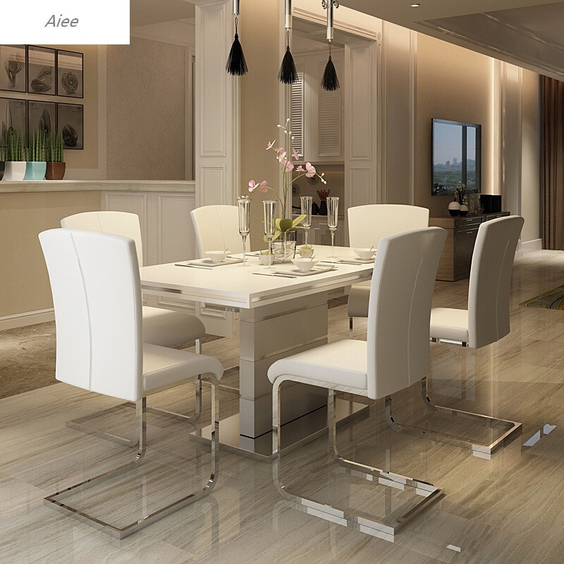 aiee家用时尚餐桌简约现代西餐桌椅组合小户型饭桌烤漆北欧餐桌餐台