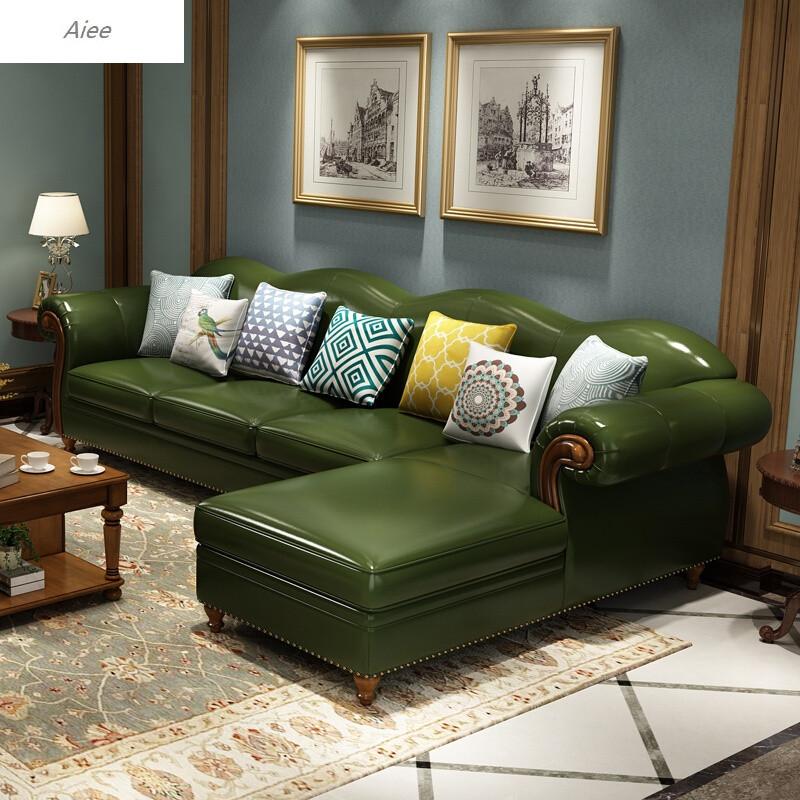 沙发头层牛皮客厅整装转角组合欧式小户型复古地中海沙发头层黄牛皮3.