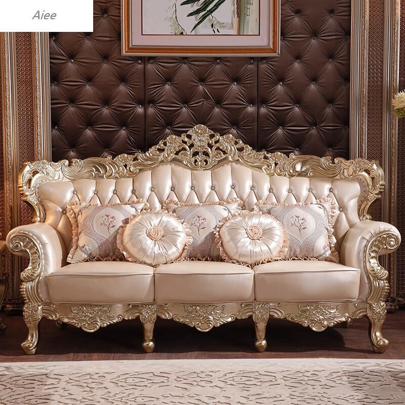 aiee新古典实木真皮沙发欧式香槟双面雕花大沙发客厅豪华沙发组合真皮