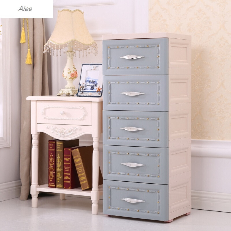 aiee加厚抽屉式收纳柜塑料欧式床头柜简易五斗柜子多层整理柜儿童衣柜图片