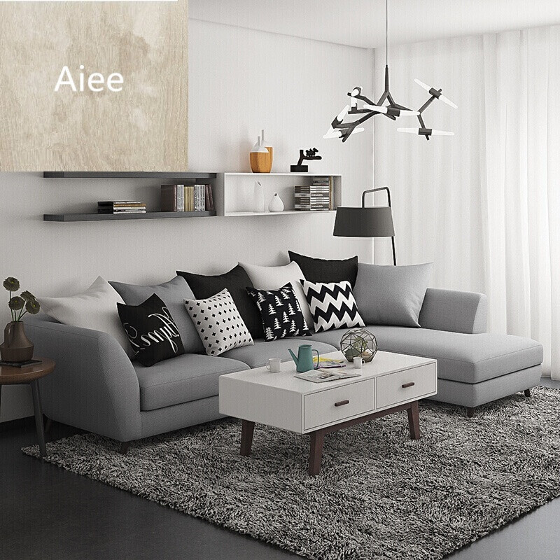 aiee简约现代时尚布艺沙发客厅小户型可舒适坐感转角沙发三人位 贵妃