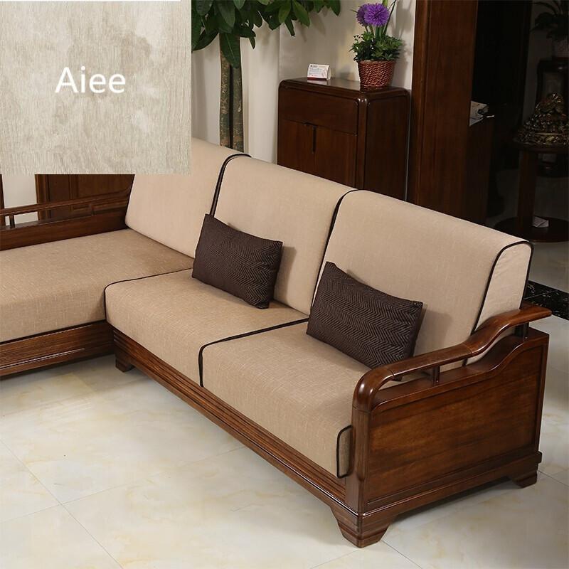 aiee新中式家具现代中式实木沙发木质贵妃转角胡桃木沙发6190胡桃色