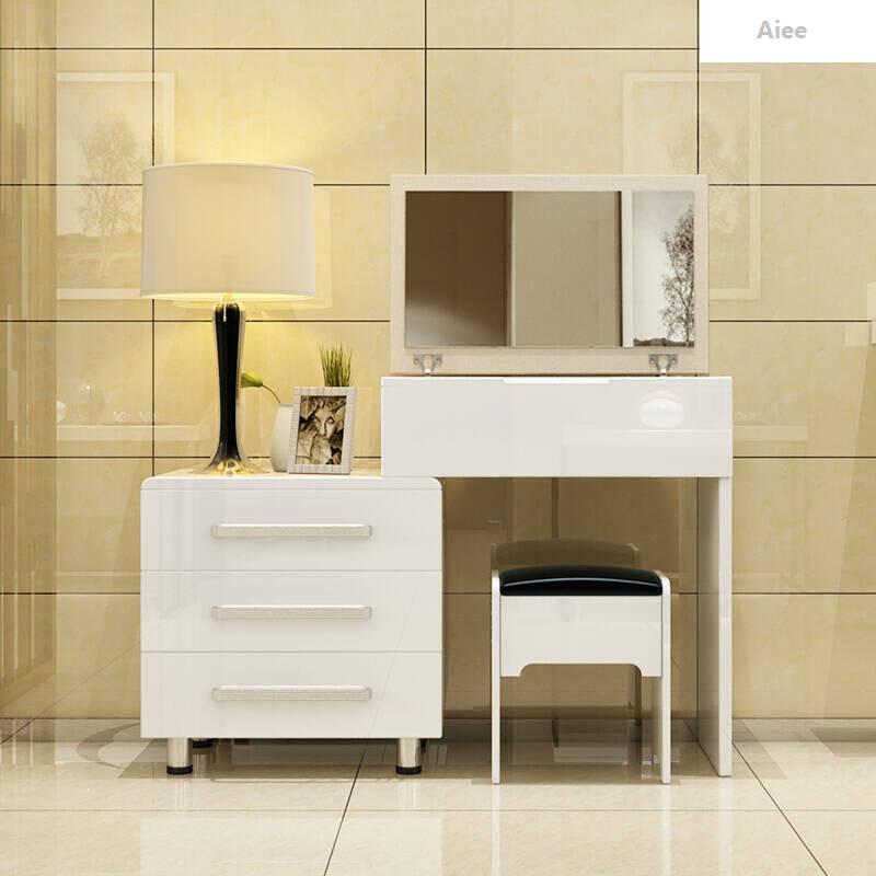 aiee现代简约板式梳妆台小户型卧室化妆桌白色时尚迷你梳妆柜家具雪莉