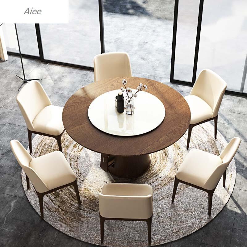 aiee现代北欧实木圆餐桌钢化玻璃可旋转圆台水曲柳木纹餐桌