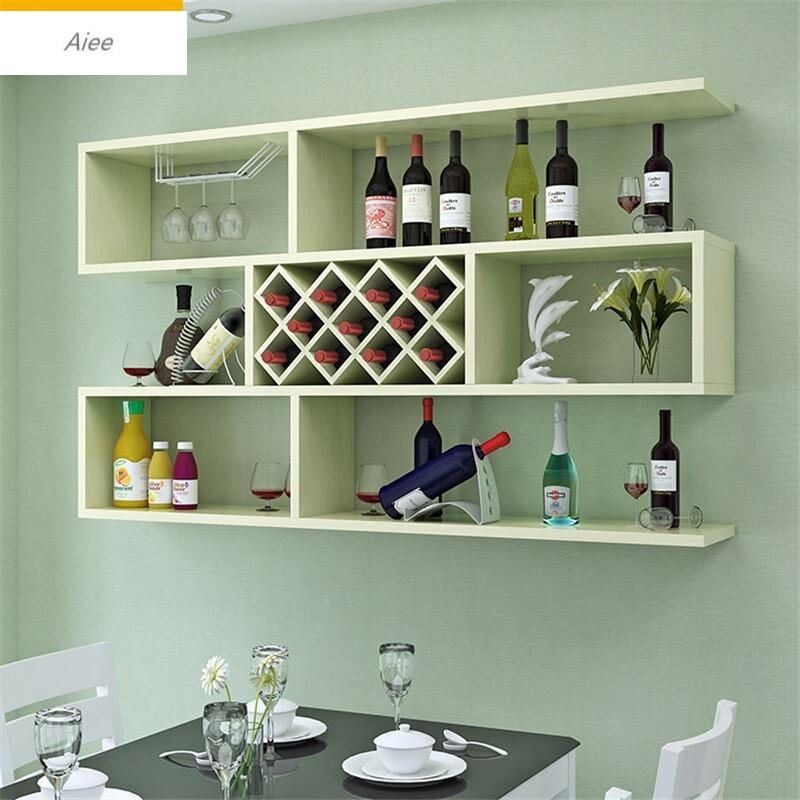 aiee现代简约墙上酒柜客厅壁挂式红酒架餐厅挂墙酒柜置物架创意格子