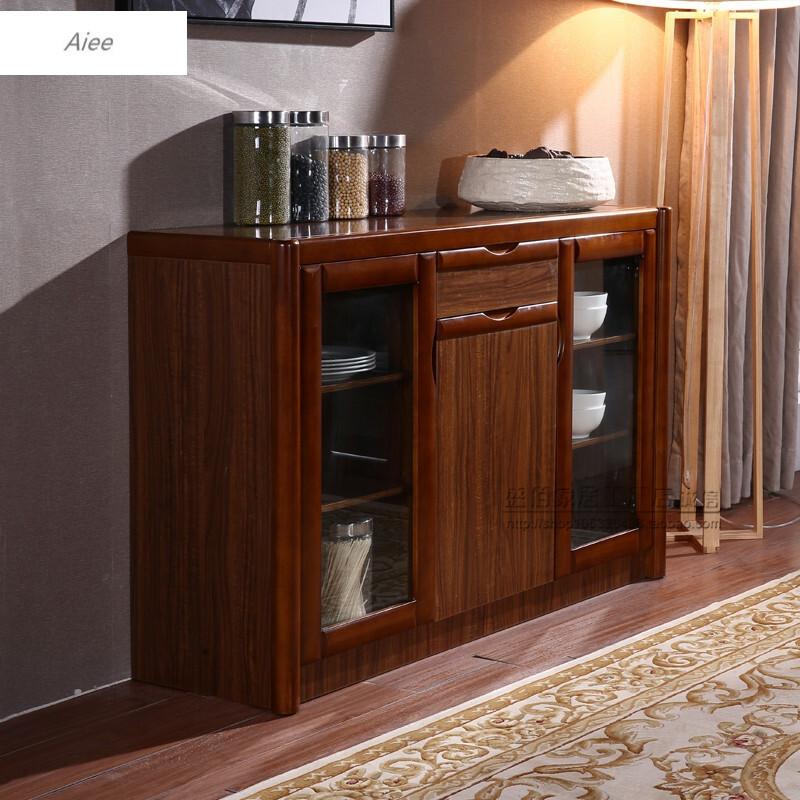 aiee实木餐边柜大容量乌金木茶水柜储物柜客厅碗柜厨房柜餐柜边柜