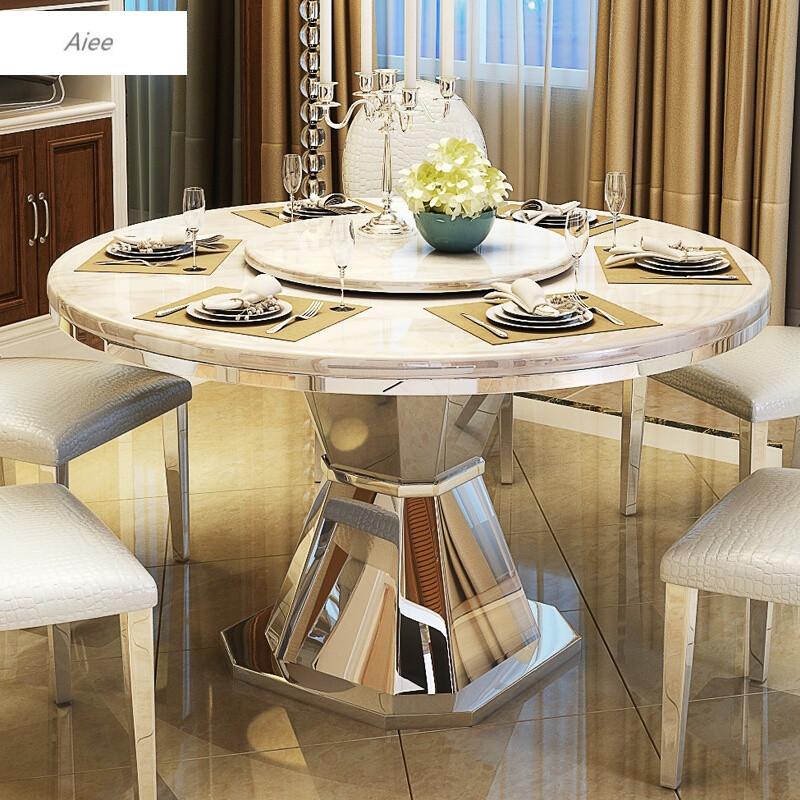 aiee餐桌椅组合大理石圆桌饭桌圆形餐桌小户型6人带转盘餐台