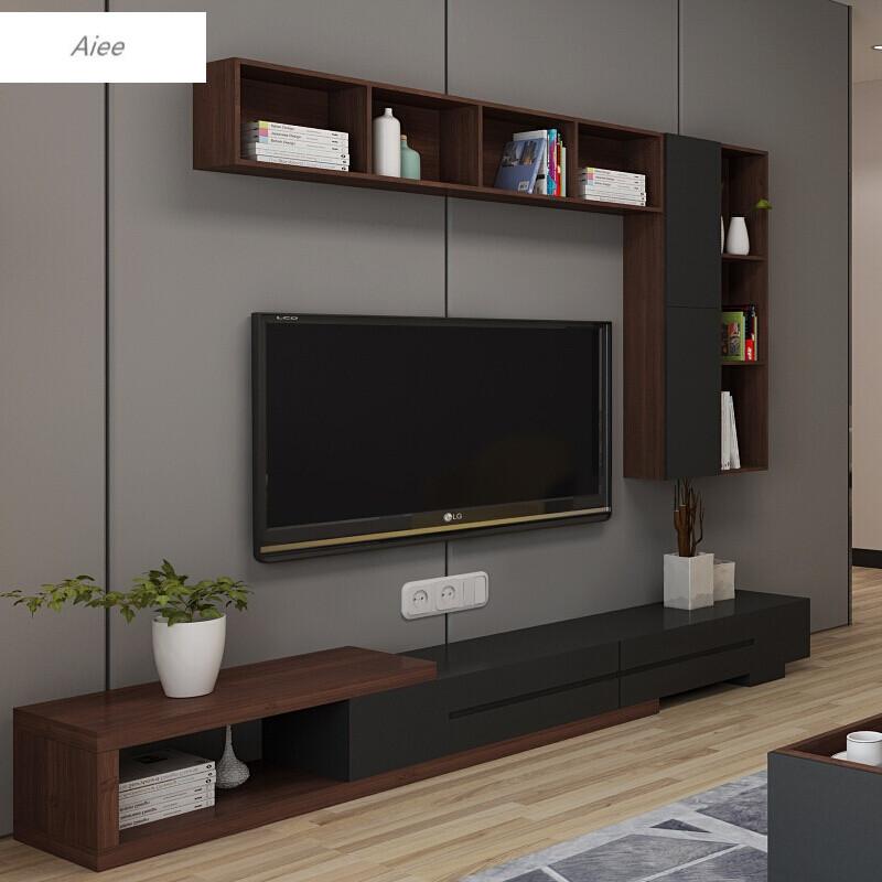 aiee北欧电视墙上储物柜橡木壁柜现代简约吊柜创意挂柜客厅置物架白色