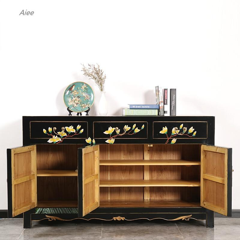 aiee新中式实木餐边柜储物仿古家具手绘玄关柜客厅装饰柜子古典电视柜