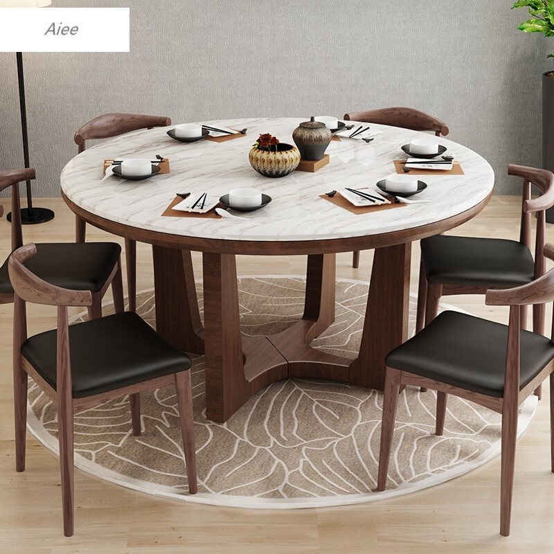 aiee北欧圆形实木餐桌欧式小户型大理石餐桌椅组合简约现代家用圆桌