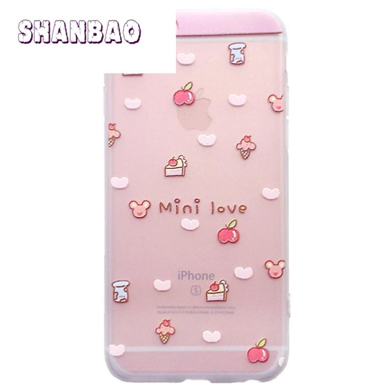 shanbao小清新甜品苹果8x手机壳透明iphone7保护套硅胶6plus挂绳超薄