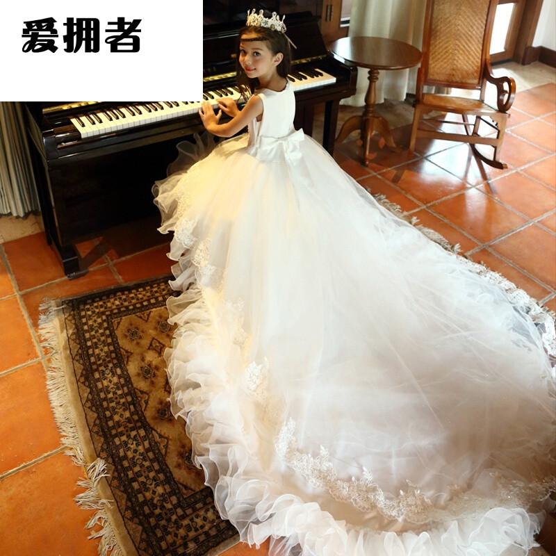 爱拥者童装女童公主裙花童裙礼服裙儿童婚纱裙拖尾长裙圣诞节演出表演