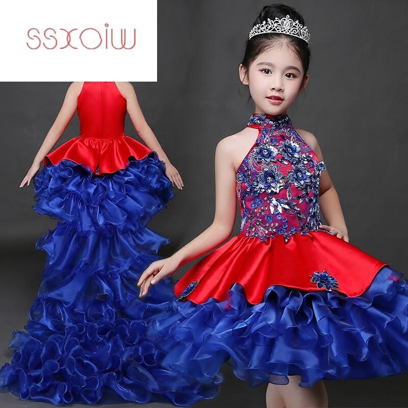 ssxoiw儿童晚礼服主持人蓬蓬裙女童模特走秀演出服小孩公主裙表演服
