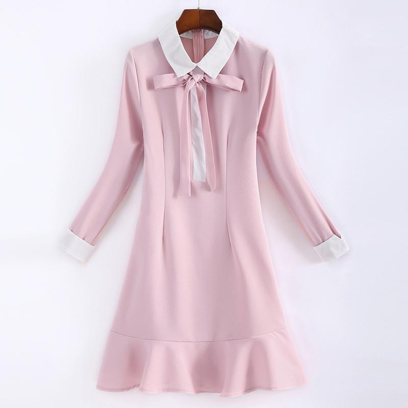珂依舍2017秋裝蝴蝶結娃娃領連衣裙長袖中長款修身顯瘦荷葉邊打底裙圖片