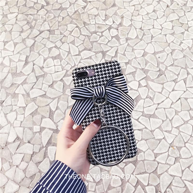 2017款黑白格子蝴蝶结oppor9手机壳可爱绒布oppor11/r9splus保护套女