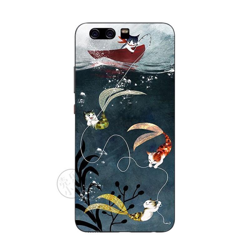 2017款美人钓鱼猫插画手绘华为p10 p10plus手机壳保护