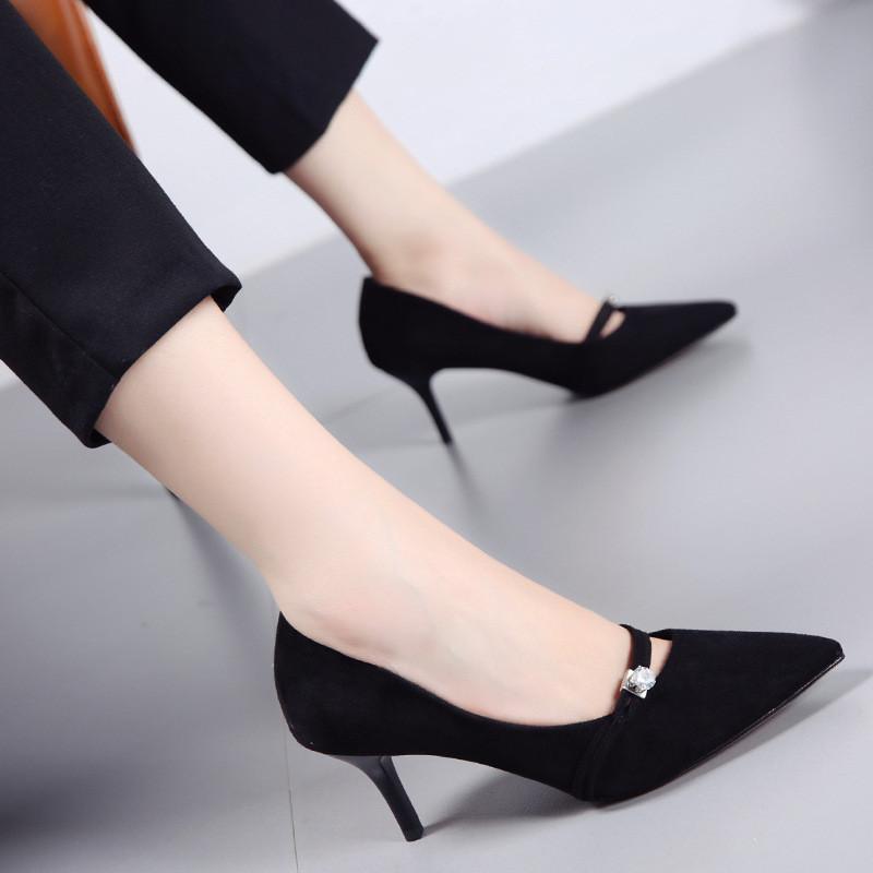 韩版时尚水钻一字带浅口单鞋女2017秋季新绒面尖头细跟女鞋高跟鞋