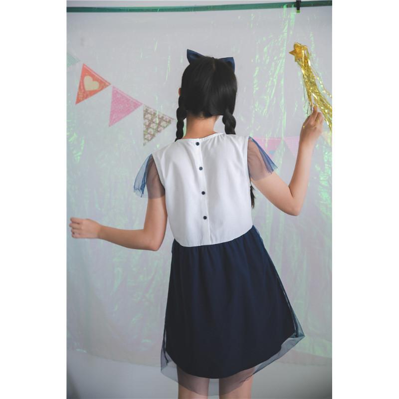 日系软萌少女感透明网纱小可爱星星刺绣蝴蝶结连衣裙