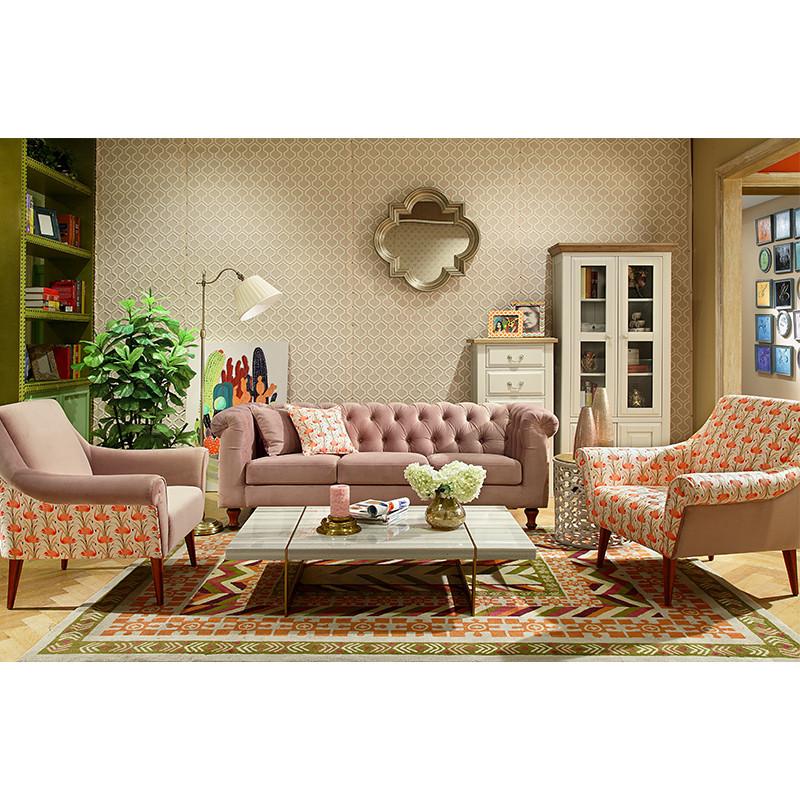 杰西卡的家沙发布艺沙发组合火烈鸟图案布艺三人小户型沙发布艺沙发