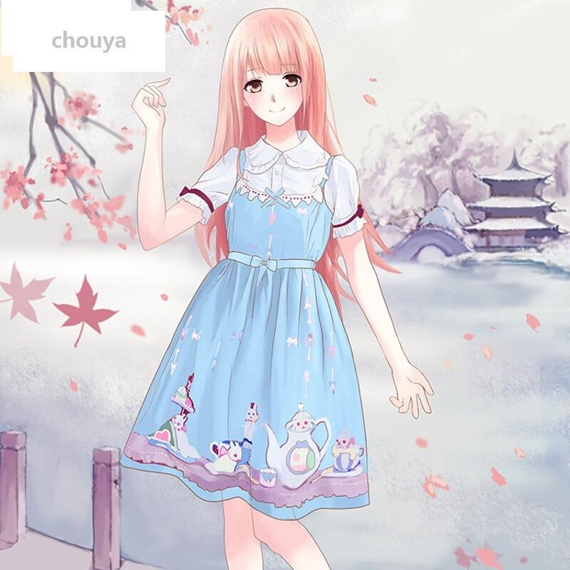 绰娅多色日系可爱少女ita茶杯兔洛丽塔洋装jsk吊带连衣裙0299