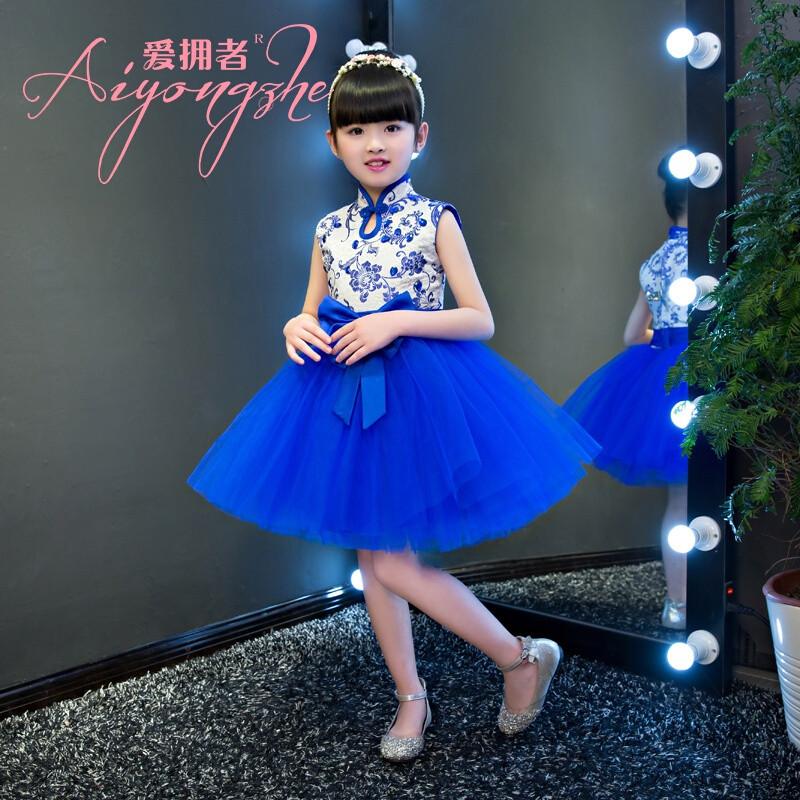爱拥者公主裙女童蓬蓬模特走秀礼服儿童演出服女青花瓷表演服装主持人