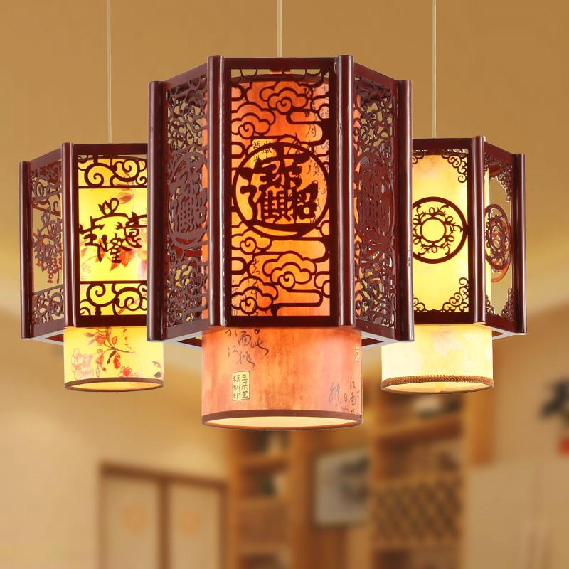 馨韵中式仿古吊灯木艺羊皮实木镂空雕花餐厅走廊过道茶楼吊灯灯饰中式