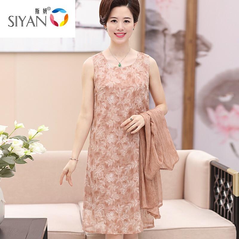 斯妍新款2017中年女装妈妈装过膝裙子40岁50夏装连衣裙两件套中国风图片