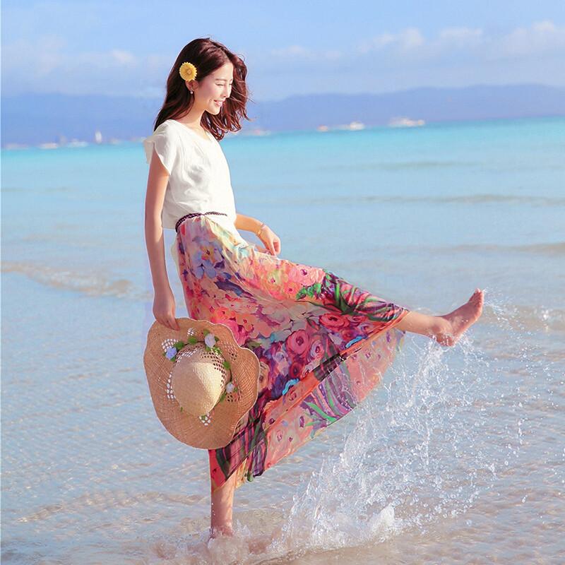 斯妍夏季雪纺连衣裙中长款韩版显瘦海边度假沙滩裙波西米亚印花长裙女